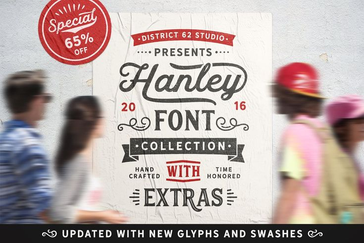 Hanley Font Collection - 9 Great retro signboard style fonts & glyphs that all go together. Perfect for vintage labels, subway art, and more! Commercial Use OK