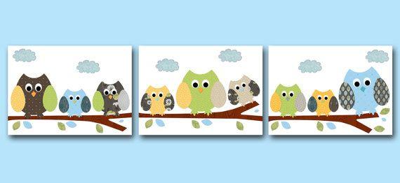 Owls Decor Baby Boy Nursery Art Prints Childrens by artbynataera