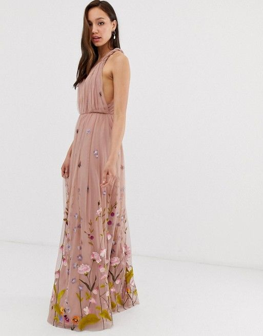 da0cb43f ASOS DESIGN Tall tulle maxi dress with delicate floral embroidery and twist  straps | ASOS