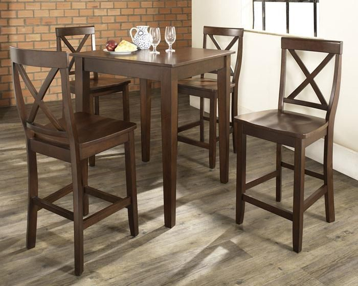 Crosley Furniture KD520005MA 5 Piece Pub Dining Set with Tapered Leg and X-Back Stools in Vintage Mahogany Finish
