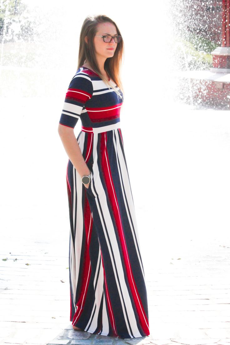 Mackenzie is a classy fall striped half sleeve modest maxi dress with hidden side pockets available in S-L