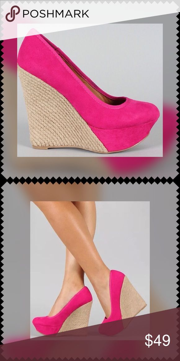 HOT Pink Espadrilles Wedges BEAUTIFUL Espadrilles Wedges in a GORGEOUS Hot PINK Color!!...Make a 'Statement' Stepping Out in These Shoes!! TRADES‼️ PRICE IS FIRM UNLESS BUNDLED‼️ Qupid Shoes Wedges