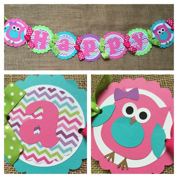 This listing is for a custom, handmade owl theme birthday party banner. It is made with quality card stock and is perfect to hang on a mantle or