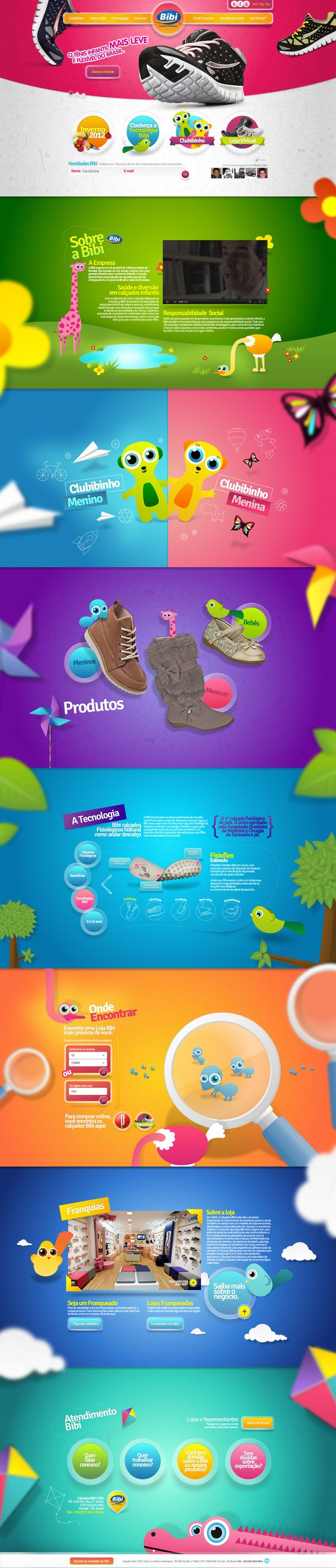 How to design a website for kids - Bibi Cal Ados Colorful One Page Design Webdesign