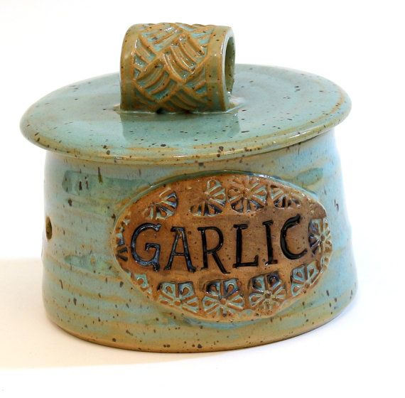Garlic Keeper Jar Pottery Garlic Keeper by LaurenBauschOriginal