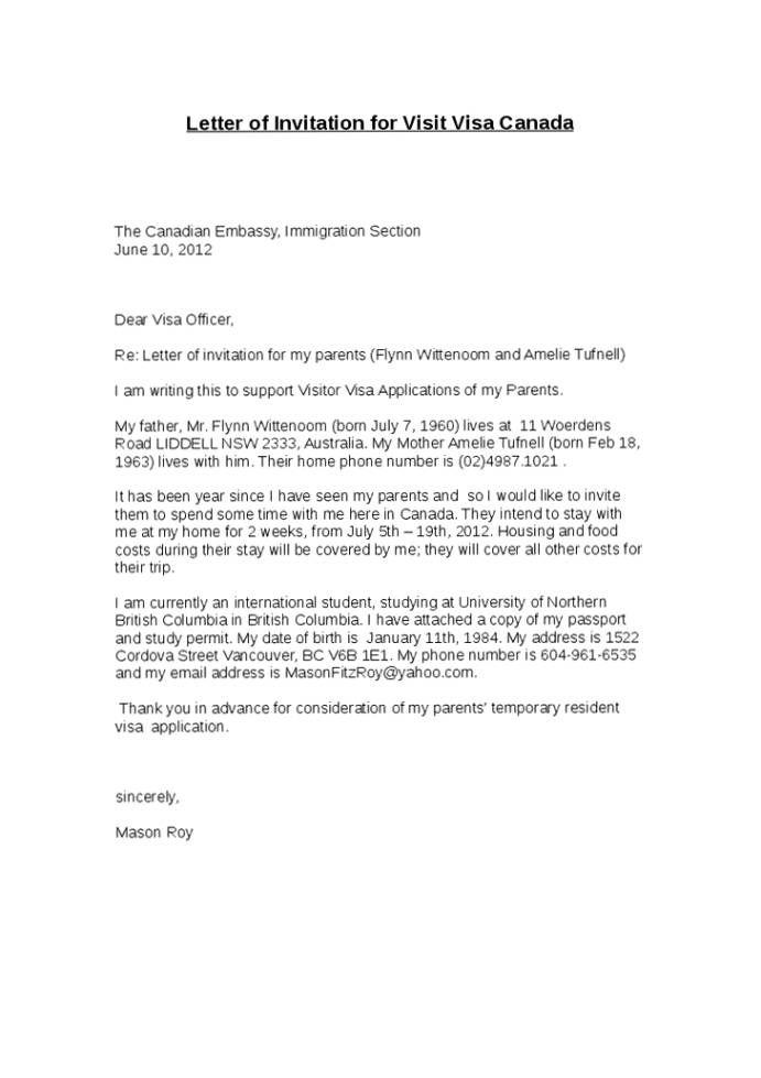 Sample Of Invitation Letter For Uk Visa