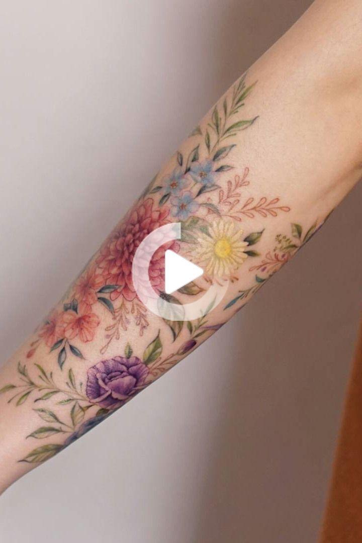60 Stunning Flower Tattoos For Girls And Women Flower Girls Stunning Tattoos Women In 2020 Wildflower Tattoo Colorful Flower Tattoo Forearm Tattoos