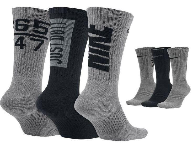 Nike Mens Calcetines De Algodón Tripulación Cojín Tamaño Ampliado Elefante 3-pack