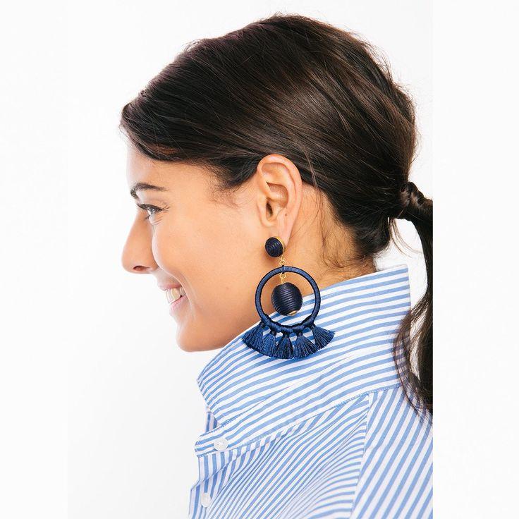 Navy Dreamcatcher Earrings