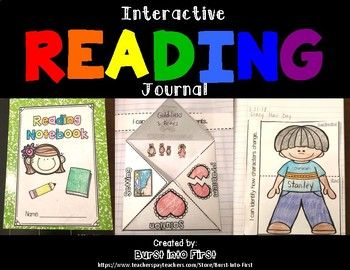 Interactive FICTION Reading Journal for first grade. This is a hands-on interactive notebook for first grade reading. It is Common Core aligned. It includes interactive reading sheets that can be used with any book. There are directions and pictures to help with setting up reading journals.