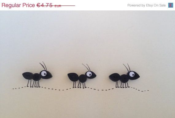 Spring Sale Quilled card, Black Ants, Quilled Ants Card, Blank Card