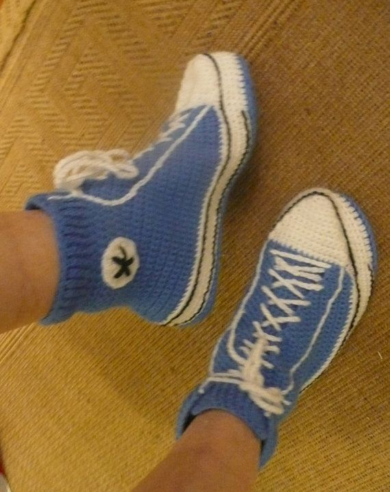 Haak volwassen Converse stijl Slipper / door MyGrannyTaughtMe