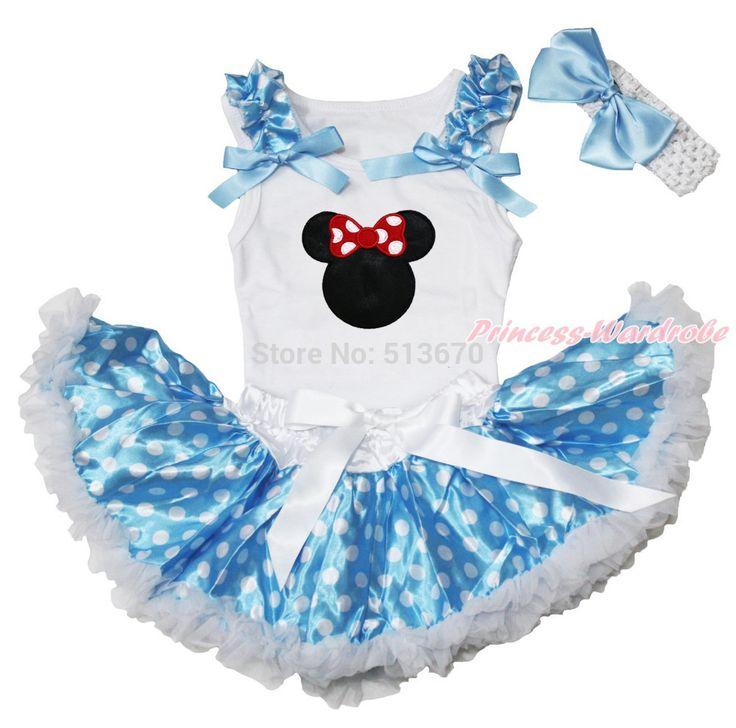Пасха красная минни маус печать белый топ синий горошек новорожденный ребенок юбка 3 - 12 м MAPSA0476