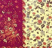 Batik Pekalongan design. Most of these batiks were sarongs, perhaps because Dutch settlers found them easier to to wear. In this group of batiks we find the buketan motifs, depicting flowers and fruits thet grew in Holland, like chrysanthemums and grapes, and flowers arrangements in European style.