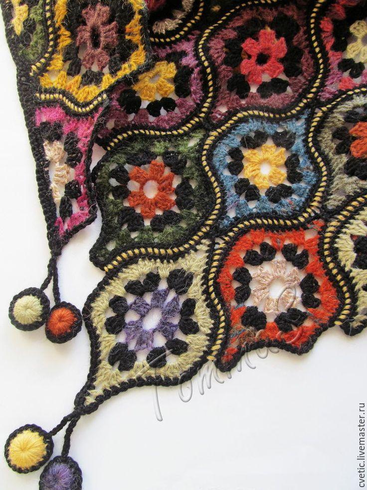 """Купить Шаль вязаная """"Арабские ночи"""" - Шаль крючком, подарок для жены, вязаная шаль"""