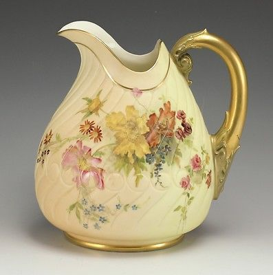 Royal Worcester Figurines | Royal Worcester Porcelain Pitcher Curved Grooves Handpainted Floral Design