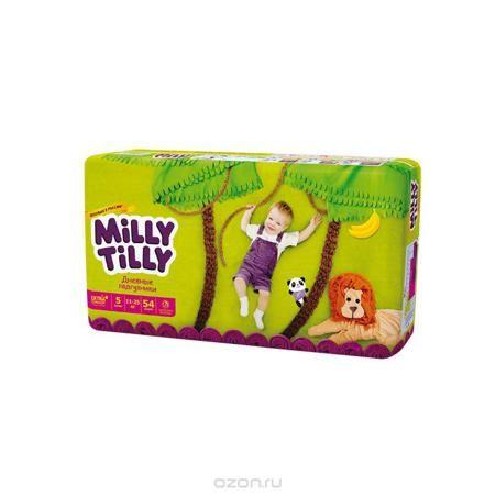 """Milly Tilly Подгузники дневные """"Junior"""", 11-25 кг, 54 шт  — 1097р.  Нежный материал дневного подгузника """"Milly Tilly"""" в виде сот прилегает к коже и дарит малышу невероятный комфорт. Данная структура верхнего слоя в виде сот позволяет свободно циркулировать воздуху внутри подгузника. Эластичные поясочки надежно фиксируют его, при этом не стесняют движений малыша. Нежные оборочки сделаны из трех мягких резиночек, которые не натирают ножки. Застежки """"Magic Fix"""" - настолько крепкие, что их можно…"""