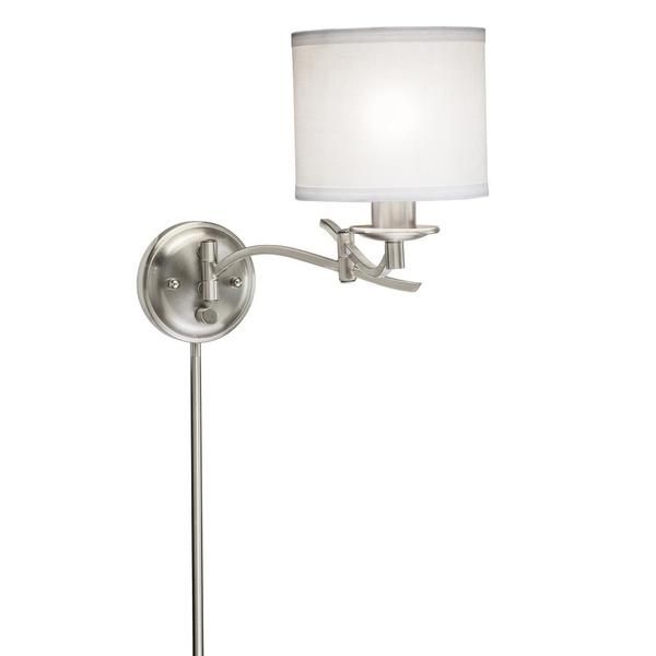 Swing Arm 1-light Plug-in Brushed Nickel Wall Lamp - Overstock™ Shopping - Top Rated Sconces & Vanities