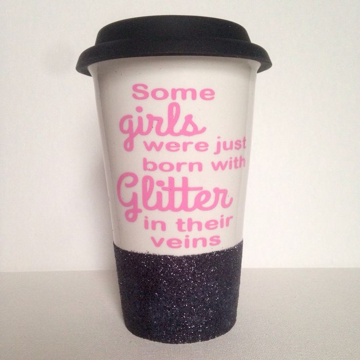 Glitter dipped ceramic coffee travel mug with pink vinyl letters. Personalized coffee traveler. Silicone lid. Coffee traveler mug  by FarmhouseChicHanna on Etsy