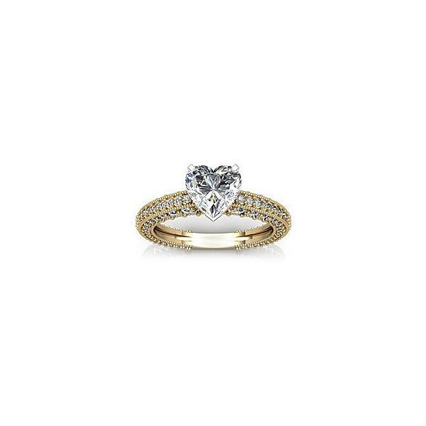 14K Solid Gold FN 925 Silver Heart Shape Sim Diamond Solitaire with Accents Ring #br925 #SolitairewithAccents