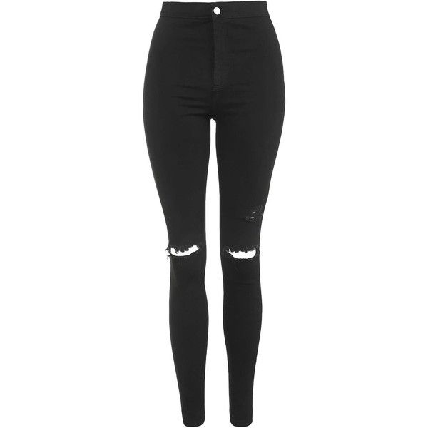 TopShop Moto Black Ripped Joni Jeans (€43) ❤ liked on Polyvore featuring jeans, pants, bottoms, pantalones, black, high-waisted skinny jeans, high waisted distressed jeans, super stretchy skinny jeans, destroyed skinny jeans and super skinny ripped jeans