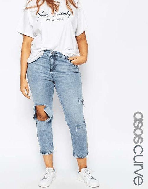 ASOS CURVE   Thea Girlfriend Jean in Daydrift Light Wash #AsosCurve #jeans