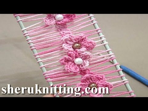 ▶ Floral Crochet Hairpin Lace Strip Tutorial 19 Crochet Flowers on Hairpin Loom - YouTube