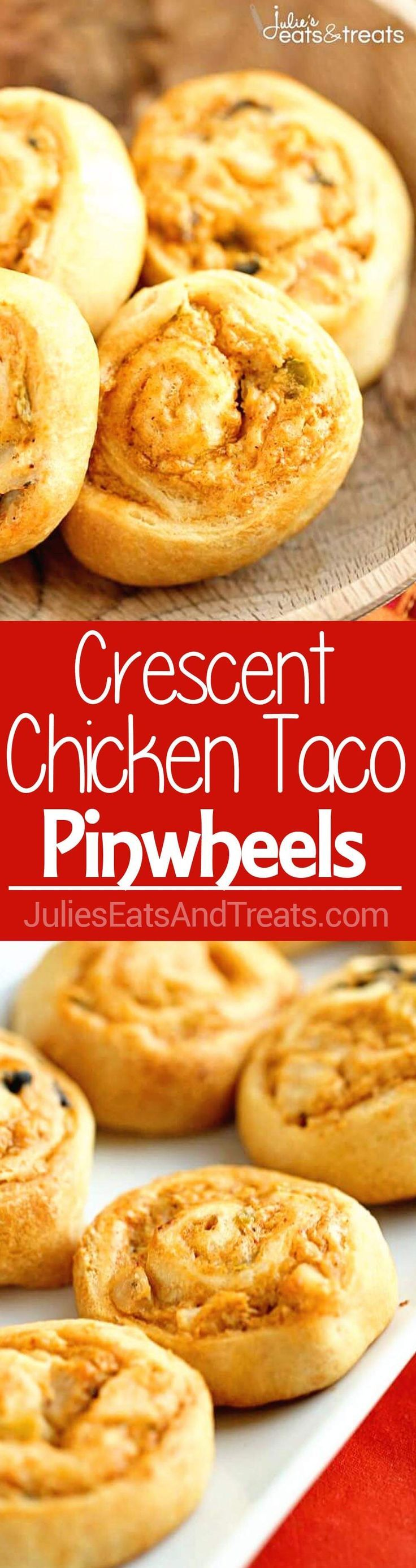 Crescent Chicken Taco Pinwheels - An easy appetizer recipe filled with diced chicken, cream cheese, taco seasoning, and green chiles! via /julieseats/