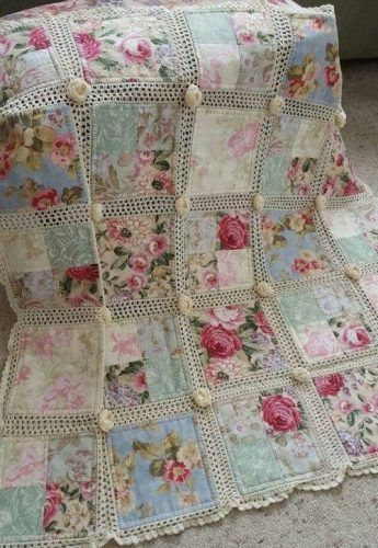 Beautiful DIY Quilt of Fabric Plus Crochet Homesteading - The Homestead Survival .Com