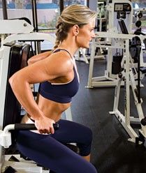 Seated dip machine - Use this machine move to attack the backs of your upper arms with a vengeance