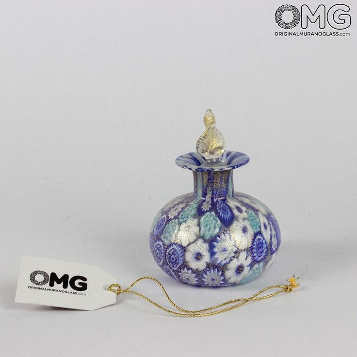 Scent Bottle Millefiori Blue with Leaf - Murano Glass