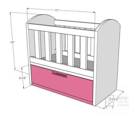 """I want to make this!  DIY Furniture Plan from Ana-White.com  A doll crib designed for 18"""" dolls. Features a bottom drawer."""