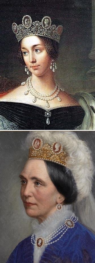 La primera reina bernadotte utilizando el conjunto de camafeos de la reina Josefina.