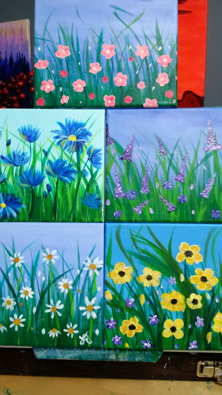 5 small flower paintings inspired by Angela Anderson and Cinnamon Cooney.