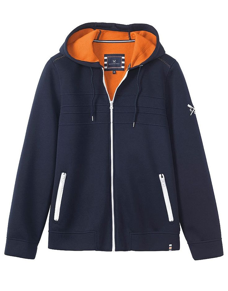 Men's Crew Club Southwold Hoody in Navy from Crew Clothing