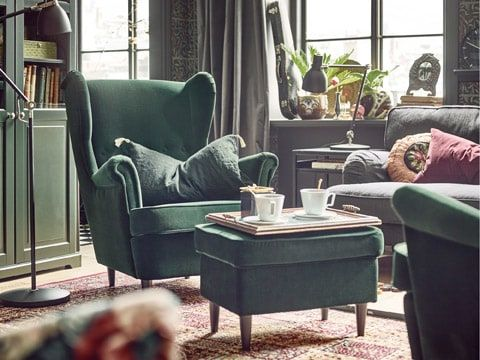 The Unmistakable Shape Of A Strandmon Wing Chair Complete With A Matching Dark Green Footstool Mit Bildern Ohrensessel Ohrensessel Grun Strandmon Sessel