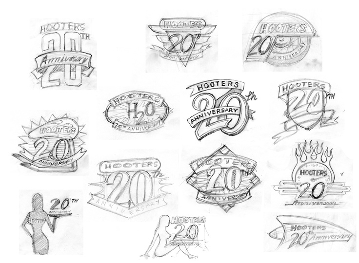 Hooters 20th Anniversary Logo sketches by Ren Pia