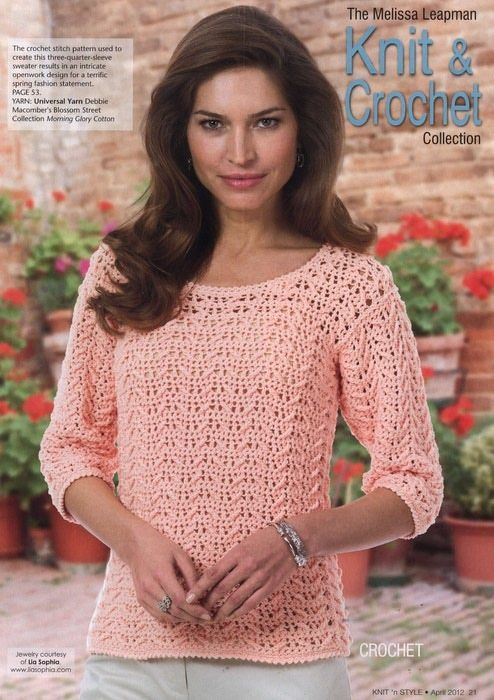 crocheted pullover sweater or jumper