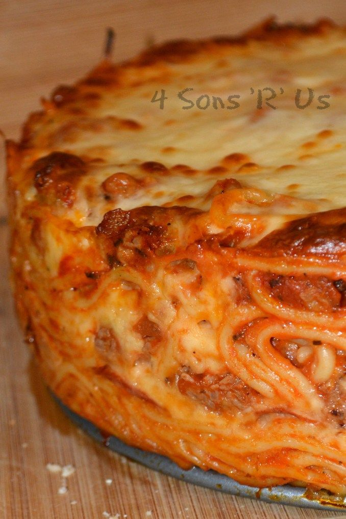 Baked Spaghetti Pie with Pepperoni - 4 Sons 'R' Us
