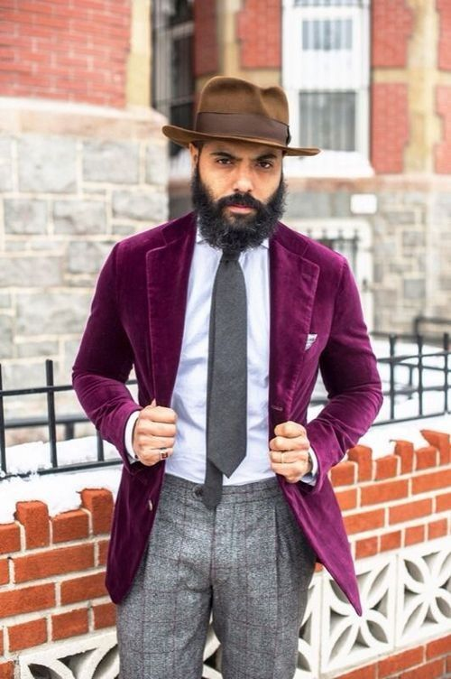 Shop this look for $294:  http://lookastic.com/men/looks/hat-and-blazer-and-pocket-square-and-tie-and-dress-shirt-and-dress-pants/1798  — Brown Hat  — Purple Velvet Blazer  — Grey Print Pocket Square  — Charcoal Tie  — Light Blue Dress Shirt  — Grey Plaid Wool Dress Pants