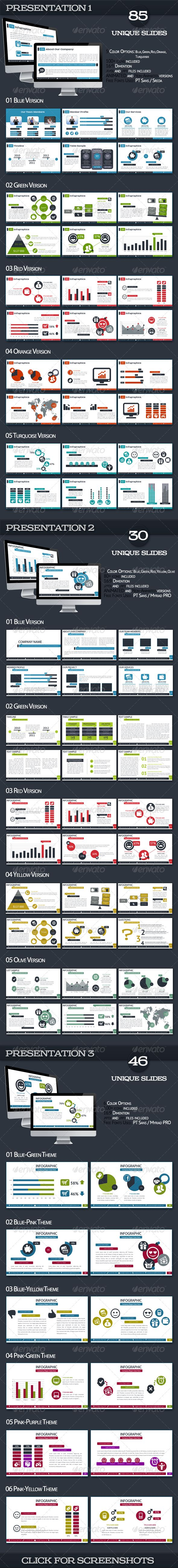 Bundle Powerpoint Presentations  #GraphicRiver                 1700 Slides in 20 powerpoint files.   Files included: 10 pptx files: 5 Animated Versions: Blue, Green, Red, Orange and Turquoise 5 NON-Animated Versions: Blue, Green, Red, Orange and Turquoise    10 ppt files: 5 Animated Versions: Blue, Green, Red, Orange and Turquoise 5 NON-Animated Versions: Blue, Green, Red, Orange and Turquoise    Features:  85 unique slides 100+ icons 5 color options: Blue, Green, Red, Orange and…