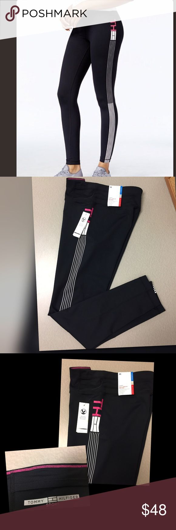 Tommy Hilfiger Sport Leggings NO TRADES - Black, white and with a touch of pink. Love these fitted mid rise poly leggings. Perfect for working out or wearing out Tommy Hilfiger Pants Leggings