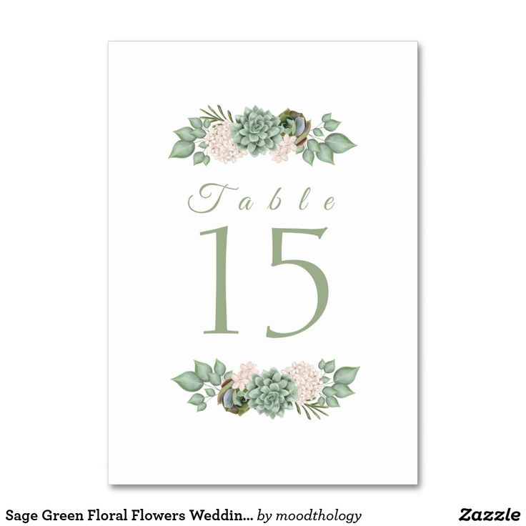 Sage Green Floral Flowers Wedding Table Number
