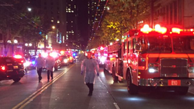 TACTICAL  Gunman Sought After Five Shot in Seattle  Five people were shot outside a convenience store in downtown Seattle Wednesday night, and the shooter remained at large. The five victims range in age from 20s to 50s and had gunshot wounds to their legs, chest and neck.