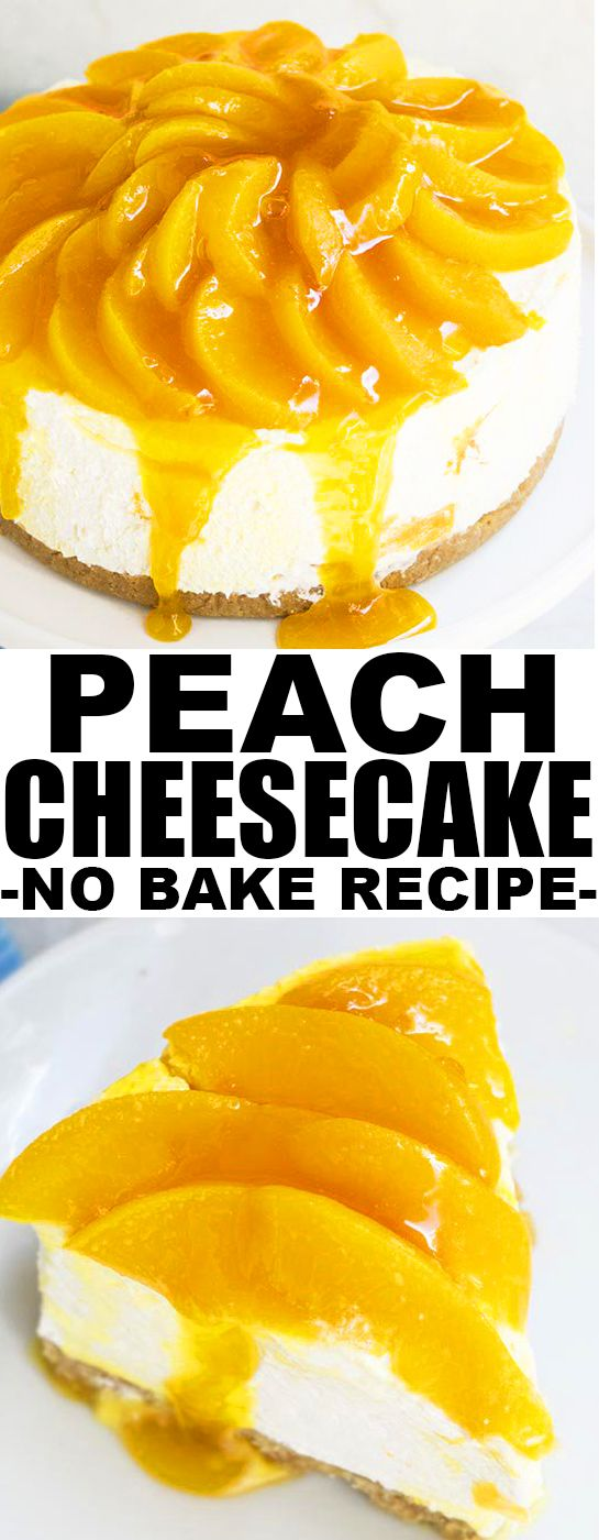 Quick and easy no bake PEACH CHEESECAKE, made with simple ingredients from your pantry. This peaches and cream cheesecake is the perfect dessert for peach season! From cakewhiz.com