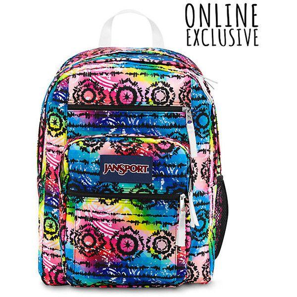 JanSport Big Student Backpack Multi Tribal Dye ($46) ❤ liked on Polyvore featuring bags, backpacks, backpacks bags, jansport rucksack, tribal bag, padded backpack en tribal pattern backpack