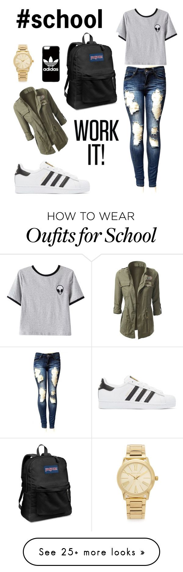 """#school"" by jeannette-palacios on Polyvore featuring adidas Originals, Chicnova Fashion, JanSport, adidas and Michael Kors"