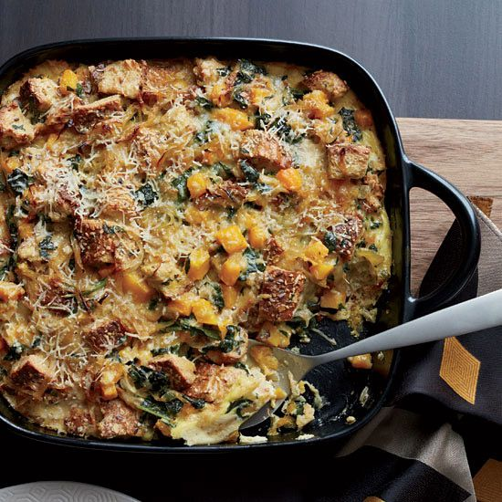 Butternut Squash and Kale Strata with Multigrain Bread | A terrific make-ahead breakfast strata from baker and pastry chef Zoe Nathan, who uses multigrain bread to add a distinct flavor to this satisfying casserole.