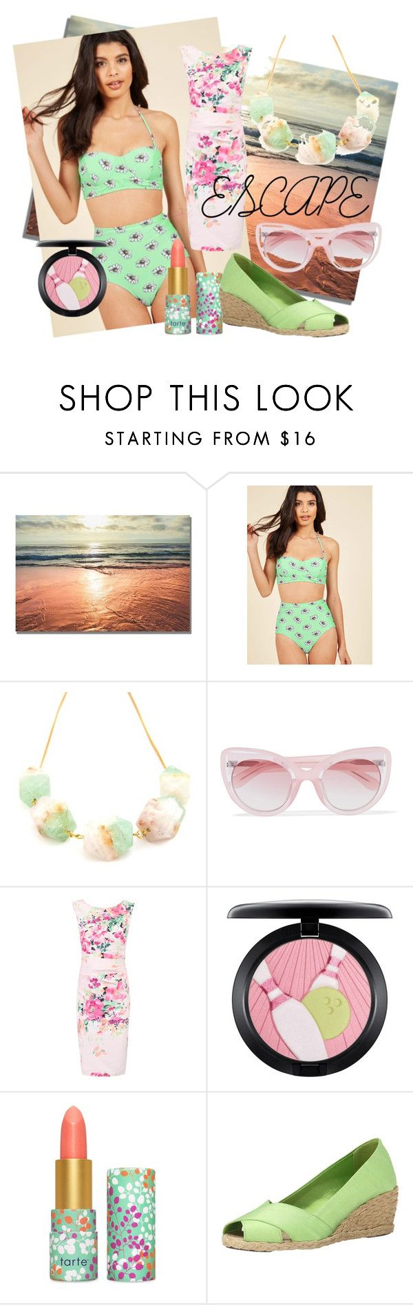 """""""Take me somewhere warm!"""" by glam-hobo ❤ liked on Polyvore featuring High Dive by ModCloth, Salome, Erdem, Jolie Moi, MAC Cosmetics, tarte and Lauren Ralph Lauren"""