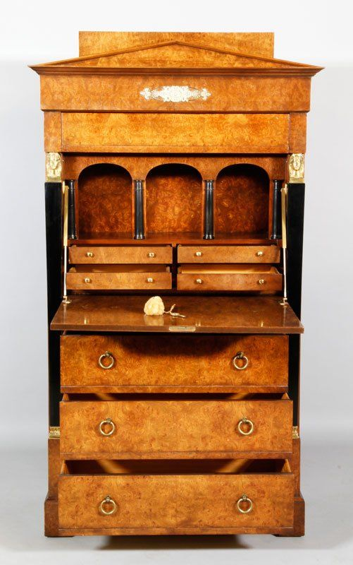 Baker Furniture Biedermeier Style Fall Front Secretary, 59 H X 33 W X 17 D.